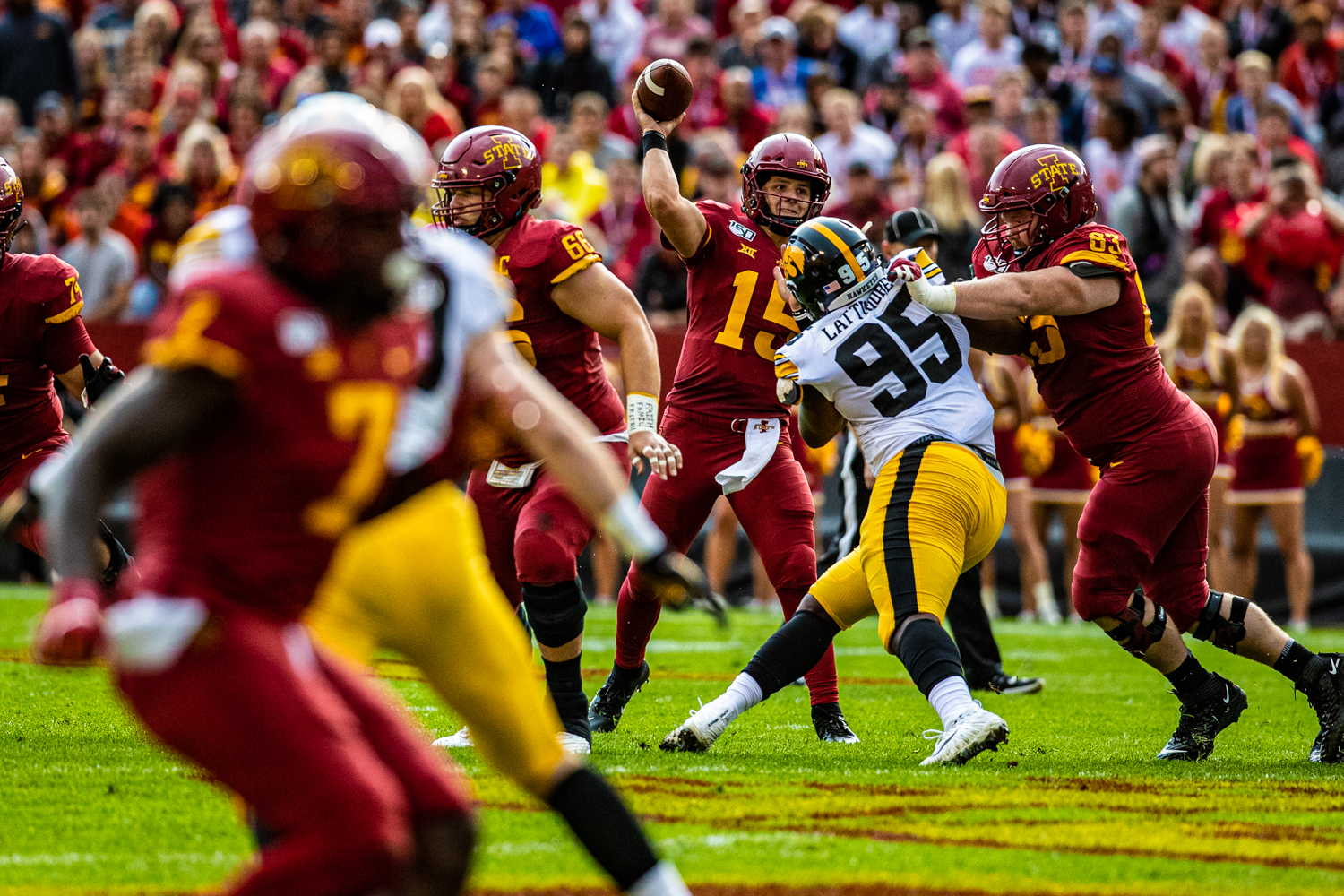 Iowa State quarterback Brock Purdy throws a pass during a football game between Iowa and Iowa State at Jack Trice Stadium in Ames on Saturday, September 14, 2019.