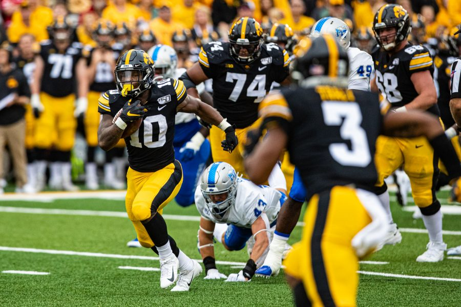 Iowa running back Mekhi Sargent carries the ball during a football game between Iowa and Middle Tennessee State at Kinnick Stadium on Saturday, September 28, 2019.