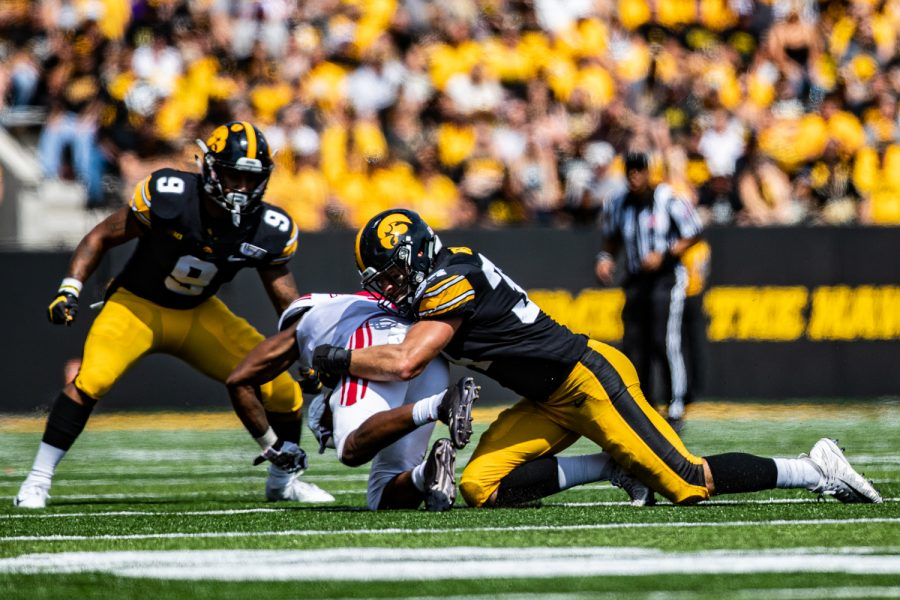 Iowa+linebacker+Kristian+Welch+makes+a+tackle+during+a+football+game+between+Iowa+and+Rutgers+at+Kinnick+Stadium+on+Saturday%2C+September+7%2C+2019.+The+Hawkeyes+defeated+the+Scarlet+Knights%2C+30-0.