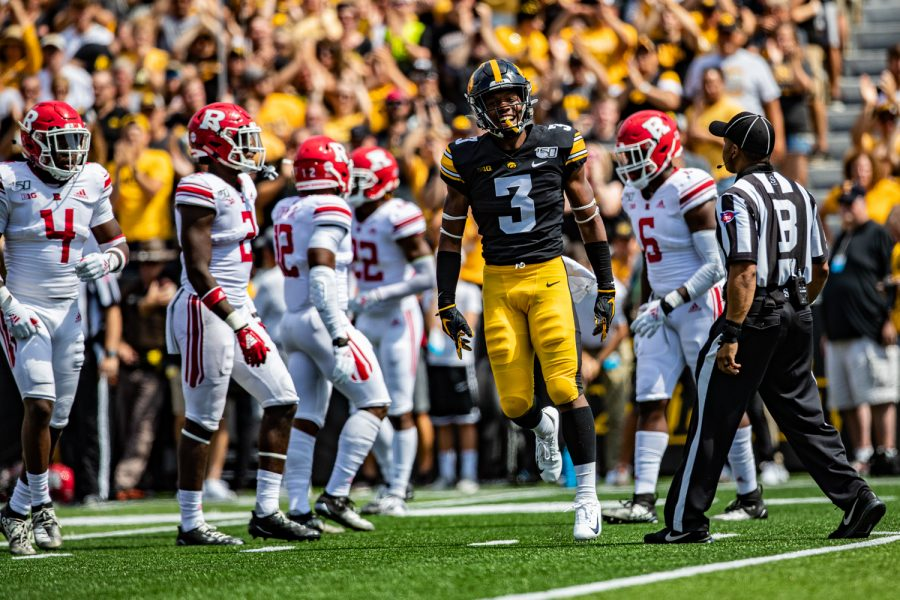 Iowa+wide+receiver+Tyrone+Tracy%2C+Jr.+celebrates+after+a+catch+during+a+football+game+between+Iowa+and+Rutgers+at+Kinnick+Stadium+on+Saturday%2C+September+7%2C+2019.+The+Hawkeyes+defeated+the+Scarlet+Knights%2C+30-0.