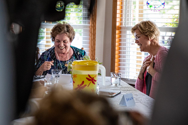 Sen. Elizabeth Warren speaks with locals during a campaign visit for Sen. Elizabeth Warren, D-Mass., in North Liberty on Friday, September 20, 2019.