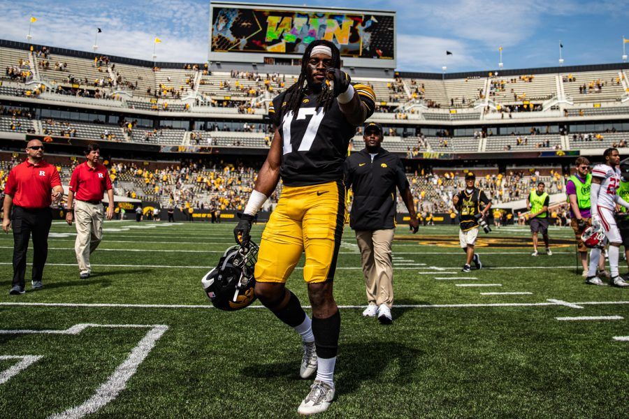 Iowa+defensive+back+Devonte+Young+celebrates+after+a+football+game+between+Iowa+and+Rutgers+at+Kinnick+Stadium+on+Saturday%2C+September+7%2C+2019.+The+Hawkeyes+defeated+the+Scarlet+Knights%2C+30-0.