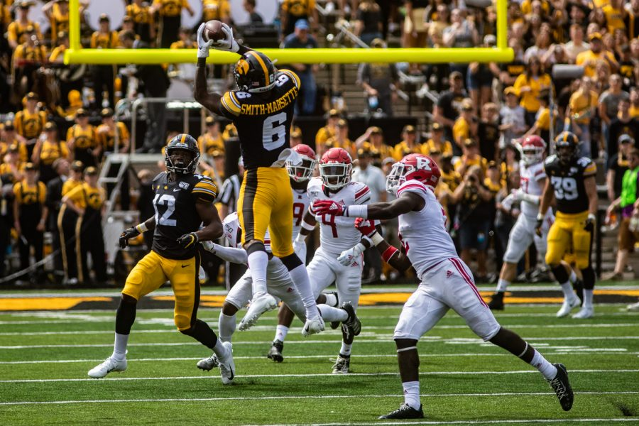 Iowa+wide+receiver+Ihmir+Smith-Marsette+catches+the+ball+during+a+football+game+between+Iowa+and+Rutgers+at+Kinnick+Stadium+on+Saturday%2C+September+7%2C+2019.+The+Hawkeyes+defeated+the+Scarlet+Knights%2C+30-0.