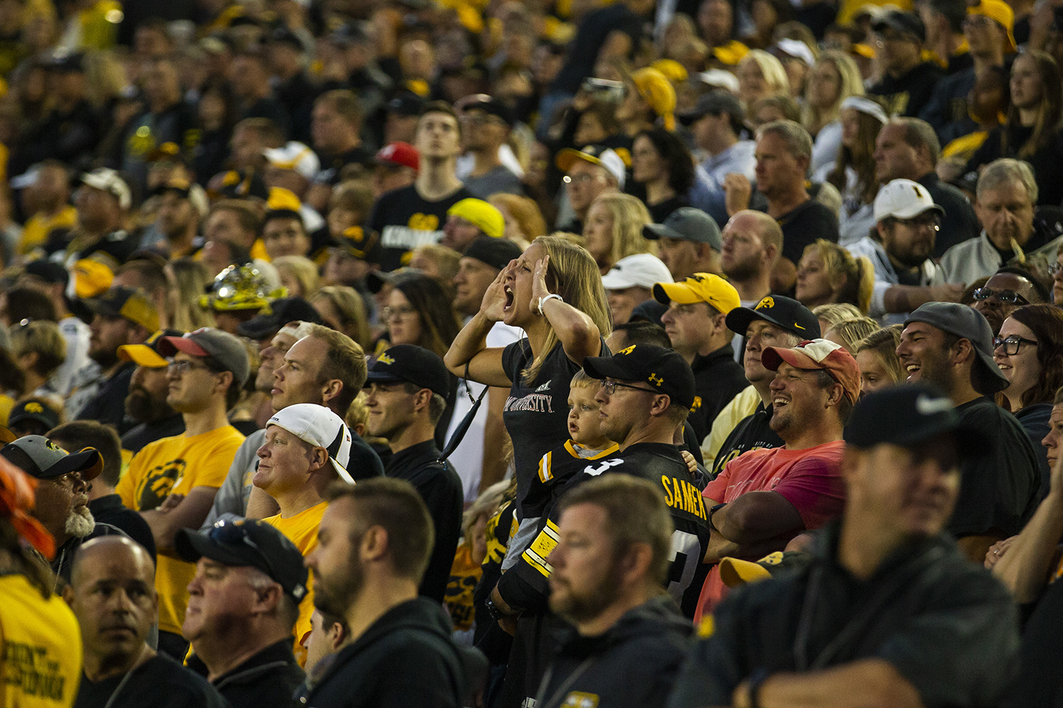 A+fan+reacts+to+a+play+during+the+Iowa+football+game+against+Miami+%28Ohio%29+at+Kinnick+Stadium+on+Saturday%2C+August+31%2C+2019.+The+Hawkeyes+defeated+the+Redhawks+38-14.