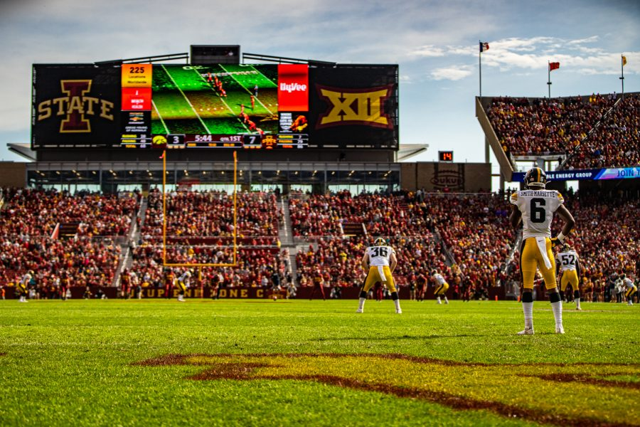 Iowa+return+man+Ihmir+Smith-Marsette+prepares+for+a+kickoff+during+a+football+game+between+Iowa+and+Iowa+State+at+Jack+Trice+Stadium+in+Ames+on+Saturday%2C+September+14%2C+2019.+The+Hawkeyes+retained+the+Cy-Hawk+Trophy+for+the+fifth+consecutive+year%2C+downing+the+Cyclones%2C+18-17.
