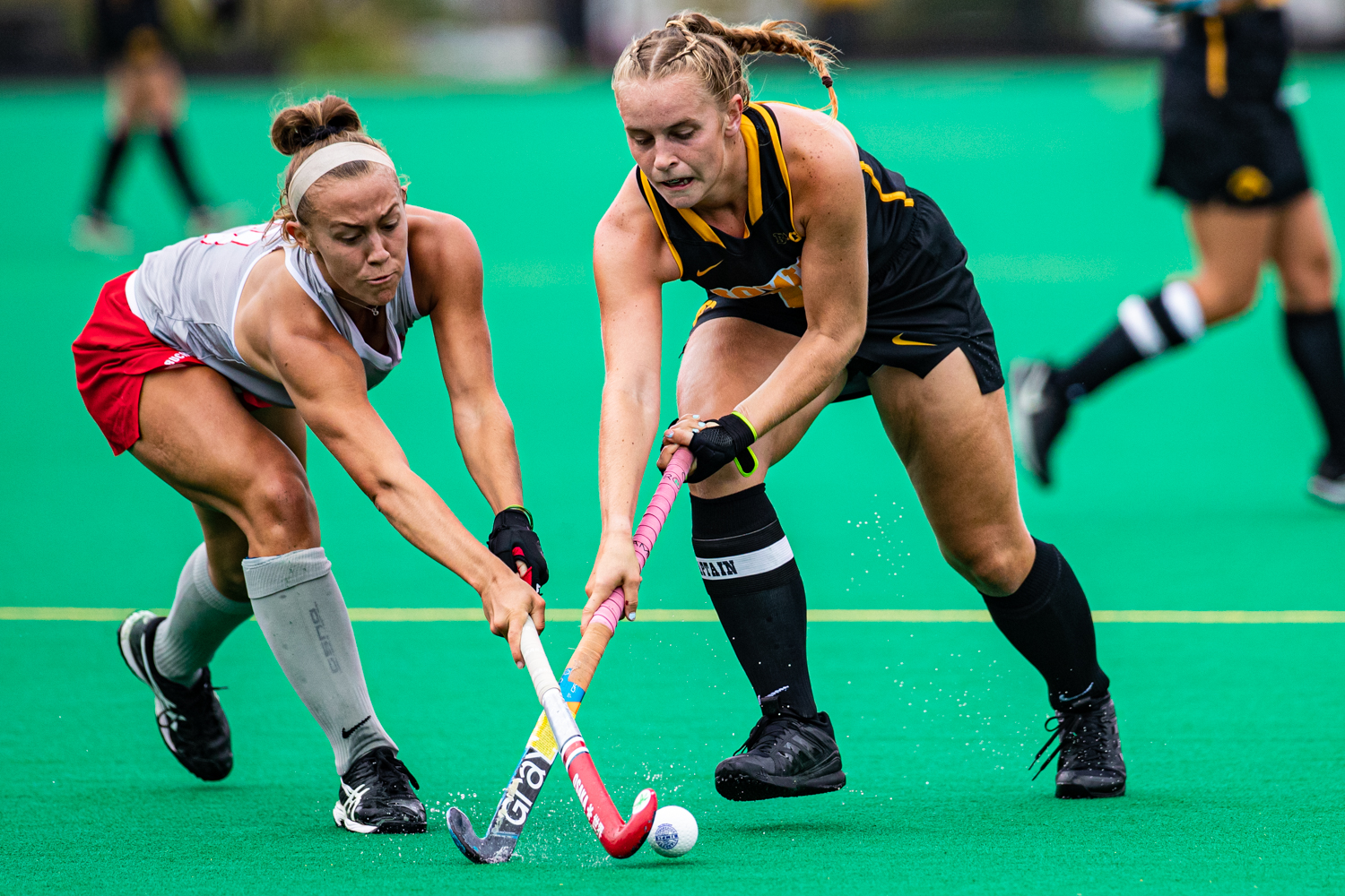 Iowa midfielder Katie Birch handles the ball during a field hockey match between Iowa and Ohio State on Friday, September 27, 2019. The Hawkeyes defeated the Buckeyes, 2-1.