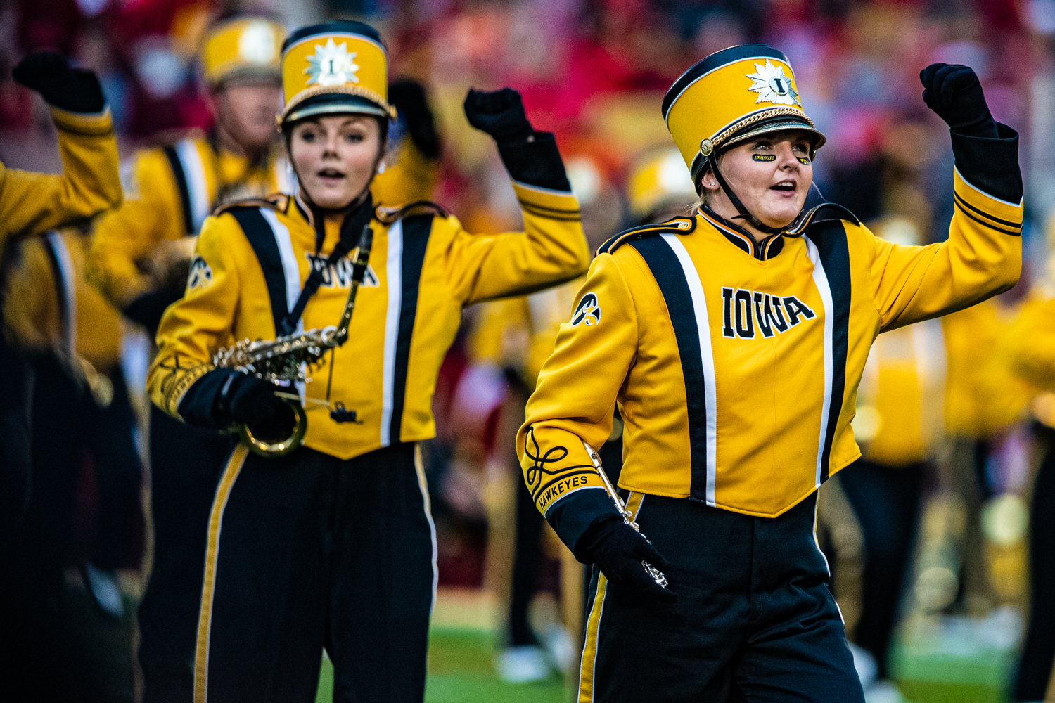 The Hawkeye Marching Band performs during a football game between Iowa and Iowa State at Jack Trice Stadium in Ames on Saturday, September 14, 2019. The Hawkeyes retained the Cy-Hawk Trophy for the fifth consecutive year, downing the Cyclones, 18-17.