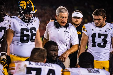 Iowa head coach Kirk Ferentz speaks to his team during a football game between Iowa and Iowa State at Jack Trice Stadium in Ames on Saturday, September 14, 2019. The Hawkeyes retained the Cy-Hawk Trophy for the fifth consecutive year, downing the Cyclones, 18-17.