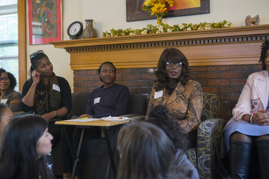 Vice President for Student Life Melissa Shivers speaks  during the Womxn of Colour Welcome Mixer at the Womens Resource and Action Center on Wednesday, Sep. 6, 2017. It was the inaugural event for the Womxn of Colour Network Series, and will feature a monthly program on a topic affecting womxn of color.
