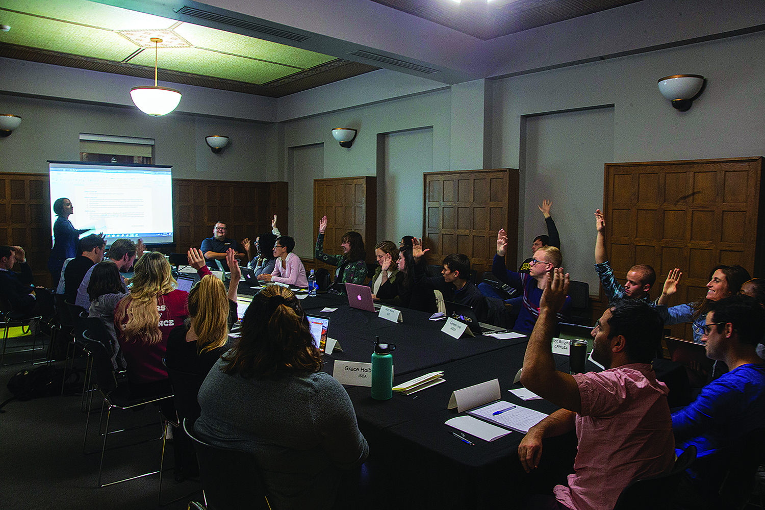 GPSG members vote on funding movement at the University of Iowa GPSG meeting in the IMU on October 8th, 2019.