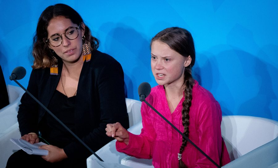 Climate+activist+Greta+Thunberg%2C+right%2C+speaks+at+the+United+Nations+Climate+Change+Conference+on+Sept.+23%2C+2019+in+New+York+City.+%28Kay+Nietfeld%2FDPA%2FZuma+Press%2FTNS%29