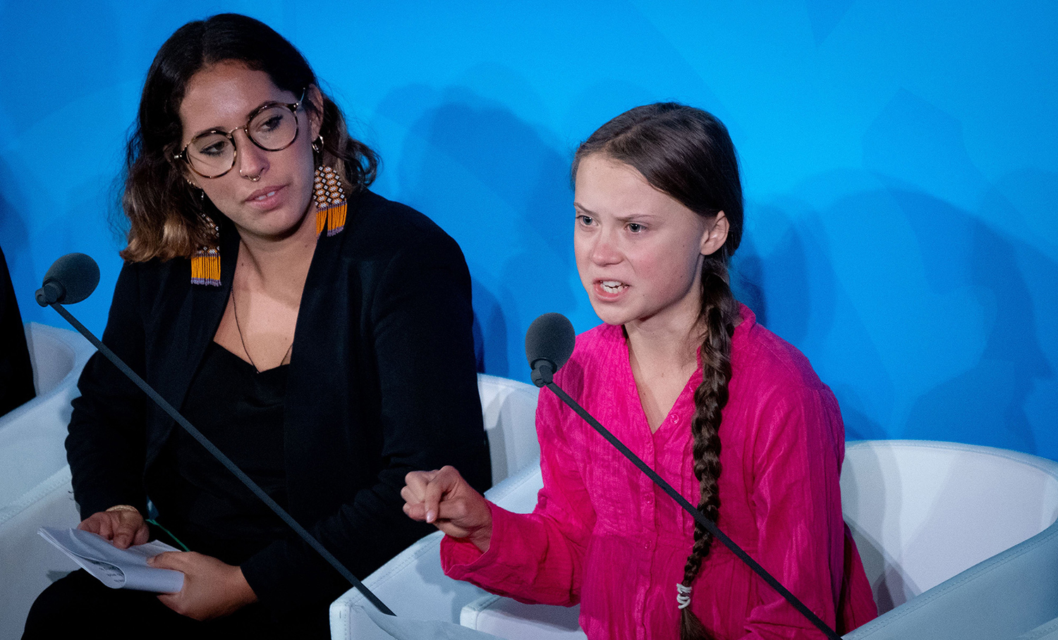 Climate activist Greta Thunberg, right, speaks at the United Nations Climate Change Conference on Sept. 23, 2019 in New York City. (Kay Nietfeld/DPA/Zuma Press/TNS)