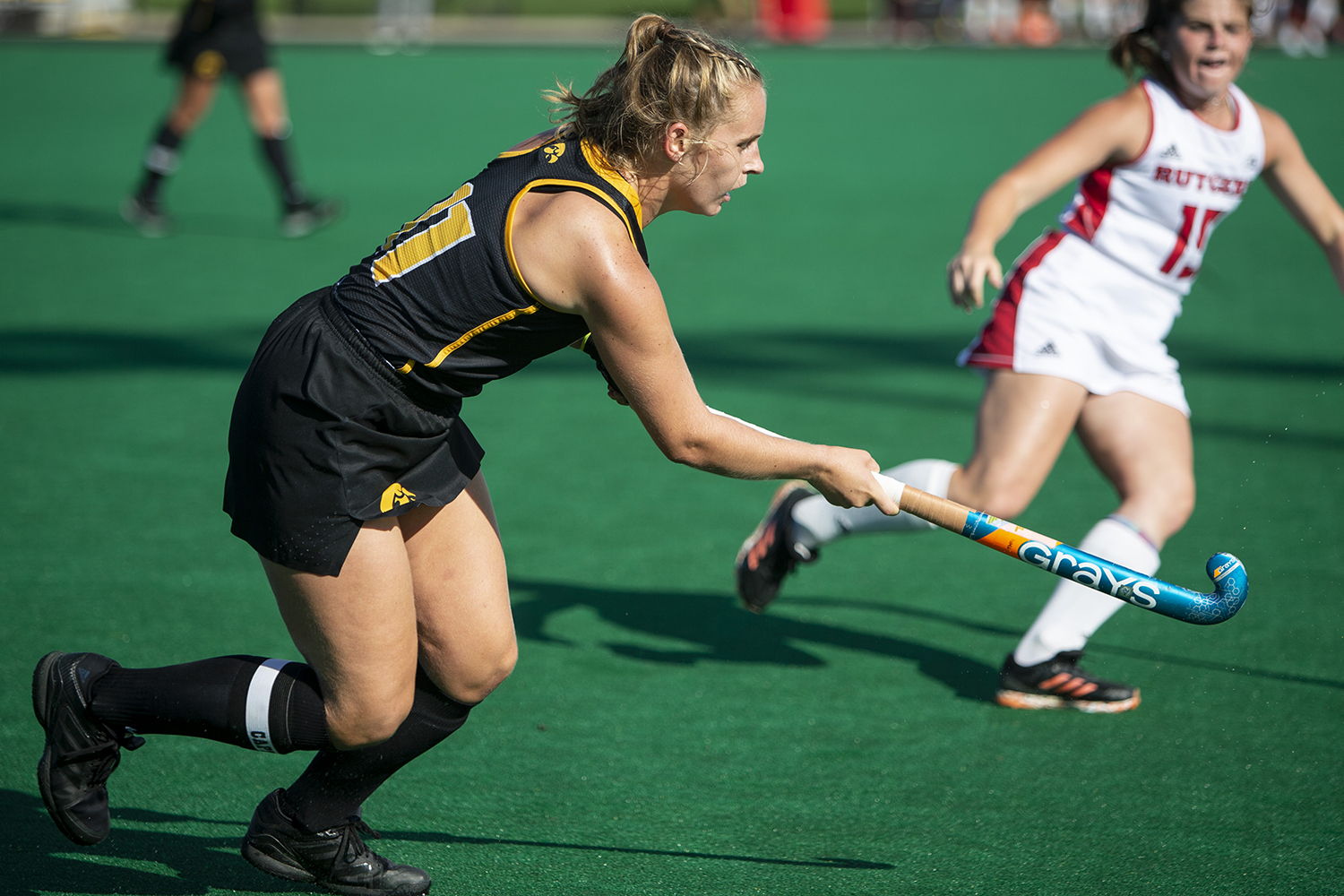 Iowa's Katie Birch passes the ball during the Iowa field hockey match against Rutgers on Friday, Oct. 4, 2019 at Grant Field. The Hawkeyes beat the Scarlet Knights 2-1.