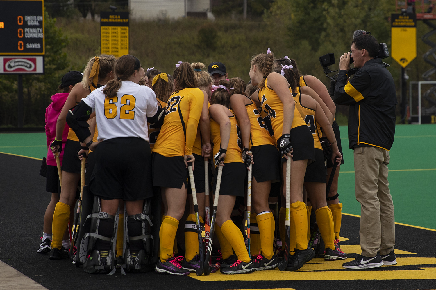 Iowa's team huddles before the UC Davis field hockey game on October 6, 2019.
