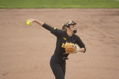 Iowa pitcher Allison Doocy winds up for a pitch at the Iowa softball game against Indian Hills at Pearl Field on Sunday, October 6th, 2019. The Hawkeyes defeated the Warriors 21-2.