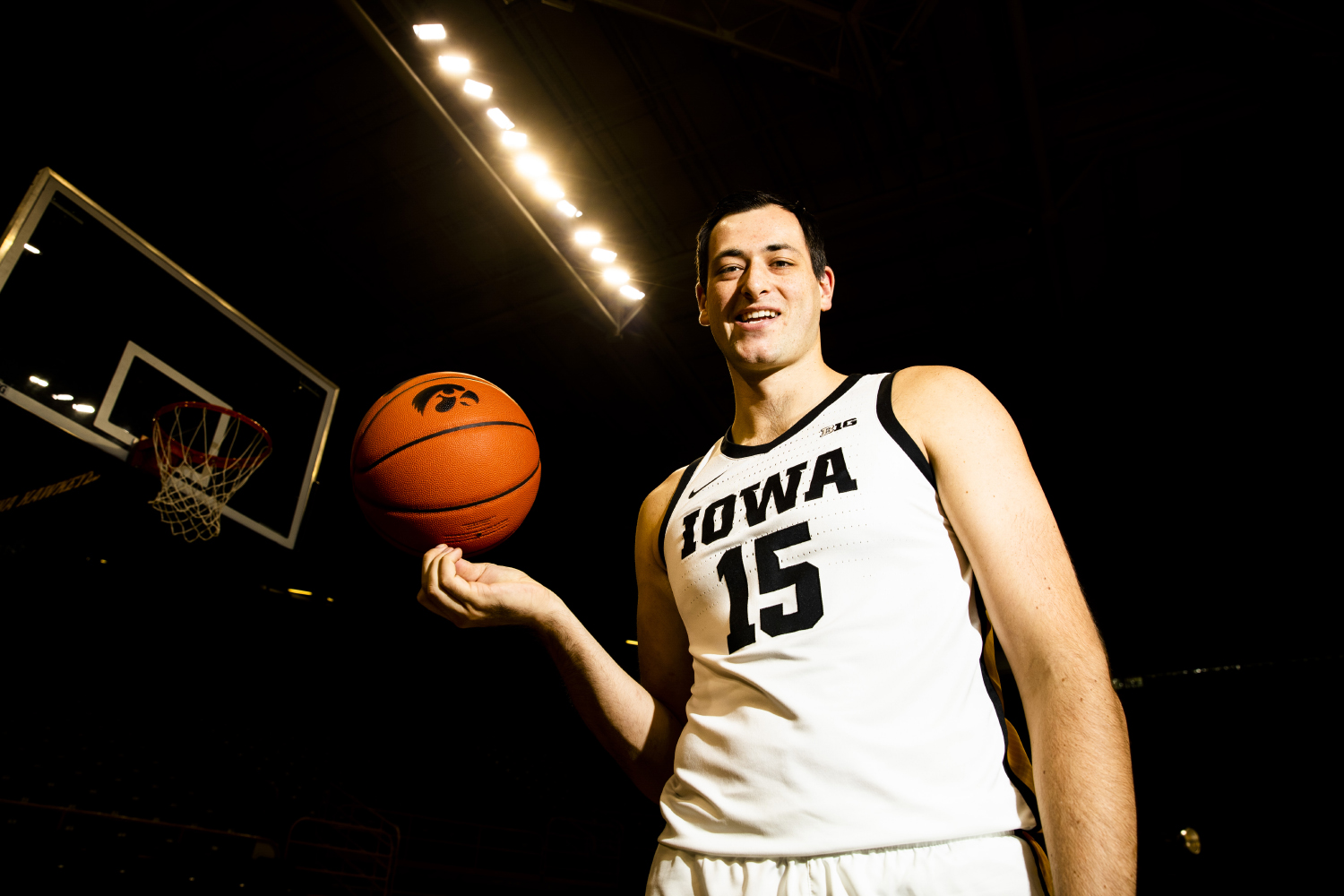 Iowa forward Ryan Kriener poses for a portrait during Basketball Media Day at Carver-Hawkeye Arena on Wednesday, October 9, 2019. The Hawkeyes will open their season on November 4, 2019 against Lindsey Wilson College in their exhibition game. (Katina Zentz/The Daily Iowan)