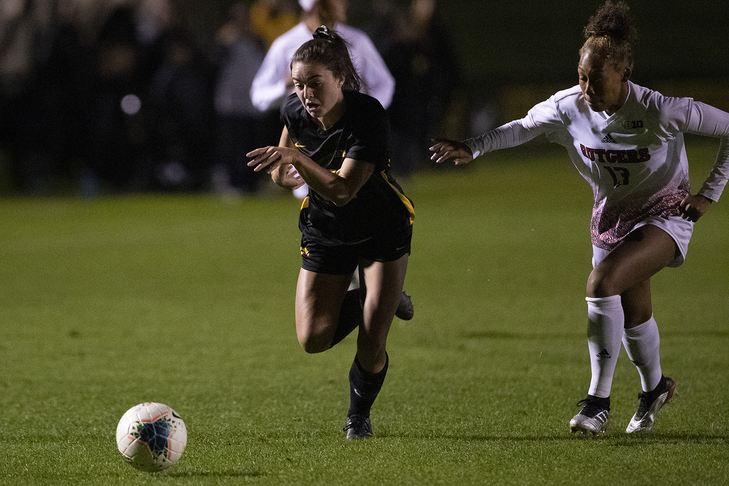 Iowa forward Devin Burns chases down the ball during the Iowa v Rutgers soccer game at the Iowa Soccer Complex on Friday, October 11, 2019. The Hawkeyes fell to the Scarlet Knights 0-1.