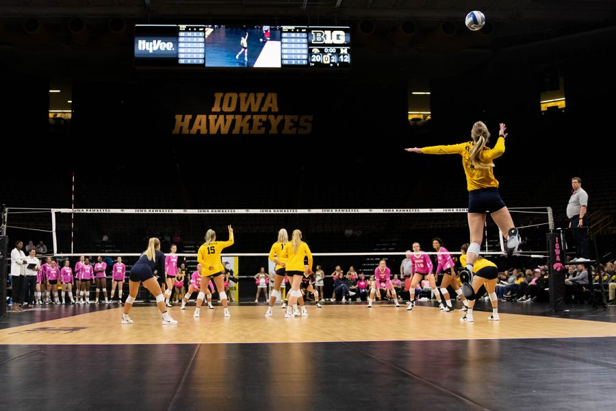 Michigan+outside+hitter+Paige+Jones+serves+the+ball+during+a+volleyball+match+between+Iowa+and+Michigan+at+Carver+Hawkeye+Arena+on+Friday%2C+October+11%2C+2019.+The+Hawkeyes+were+defeated+3-1.
