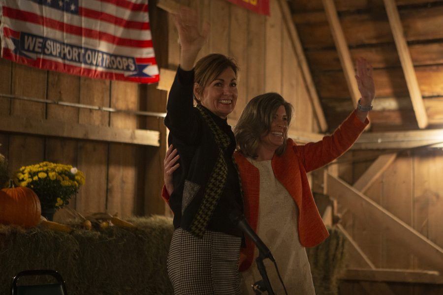 Iowa+Gov.+Kim+Reynolds+and+Sen.+Joni+Ernst+%28R-Iowa%29+wave+at+the+end+of+the+Iowa+GOP+Reception+at+Hughes+Family+Barn+in+Cedar+Rapids+on+Friday%2C+Oct.+18%2C+2019.+Facilitated+by+RPI+Chairman+Jeff+Kaufmann%2C+Reynolds+and+Ernst+discussed+their+hardships+and+highlights+throughout+their+political+roles+and+personal+lives.+