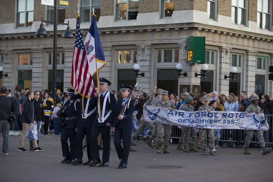 United+States+Air+Force%2FROTC+members+march+during+the+2019+Homecoming+Parade+on+Oct.+18+in+Downtown+Iowa+City.