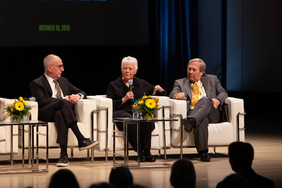 Former University of Iowa President Sally Mason (2007-2015) answers a question during the UI Presidential panel discussion on Friday, Oct. 18, 2019 in the Voxman concert hall. The event coincided with the unveiling of portraits of former UI Presidents Mary Sue Coleman, David Skorton, and Sally Mason, which will be on display on the fifth floor of the UI Main Library.
