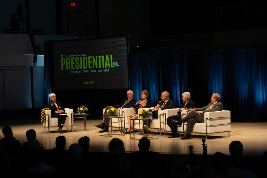 Former Unviersity of Iowa President David Skorton (2003-2006) answers a question during the UI Presidential panel discussion on Friday, Oct. 18, 2019 in the Voxman concert hall. The event coincided with the unveiling of portraits of former UI Presidents Mary Sue Coleman, David Skorton, and Sally Mason, which will be on display on the fifth floor of the UI Main Library.