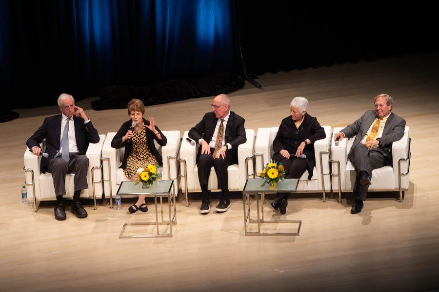 Former UI President Mary Sue Coleman (1995-2002) speaks during a panel discussion by four former University of Iowa Presidents and current UI President Bruce Harreld on Friday, Oct. 18, 2019 in the Voxman concert hall. The event coincided with the unveiling of portraits of former UI Presidents Mary Sue Coleman, David Skorton, and Sally Mason, which will be on display on the fifth floor of the UI Main Library.
