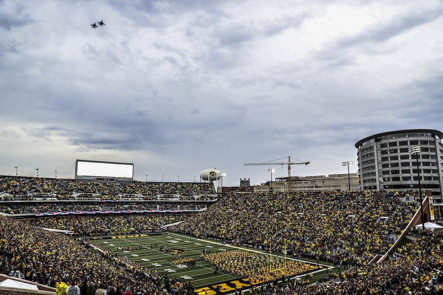 F-18+super+hornets+of+Squadron+VFA-154%2C+also+known+as+the+%22Black+Knights%2C%22+fly+over+before+the+Iowa+football+homecoming+game+against+Purdue+at+Kinnick+Stadium+on+Saturday%2C+Oct.+19%2C+2019.+The+Hawkeyes+defeated+the+Boilermakers+26-20.