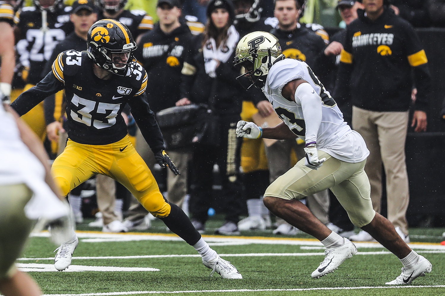 Iowa defensive back Riley Moss prepares to defend during the Iowa football game against Purdue at Kinnick Stadium on Saturday, Oct. 19, 2019. The Hawkeyes defeated the Boilermakers 26-20.