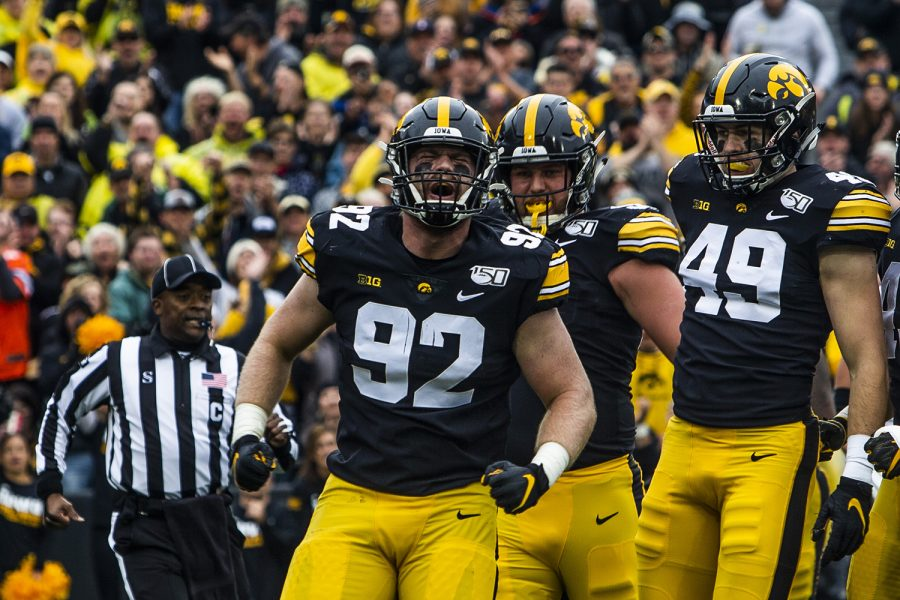Iowa+defensive+lineman+John+Waggoner+celebrates+during+the+Iowa+football+game+against+Purdue+at+Kinnick+Stadium+on+Saturday%2C+Oct.+19%2C+2019.+The+Hawkeyes+defeated+the+Boilermakers+26-20.