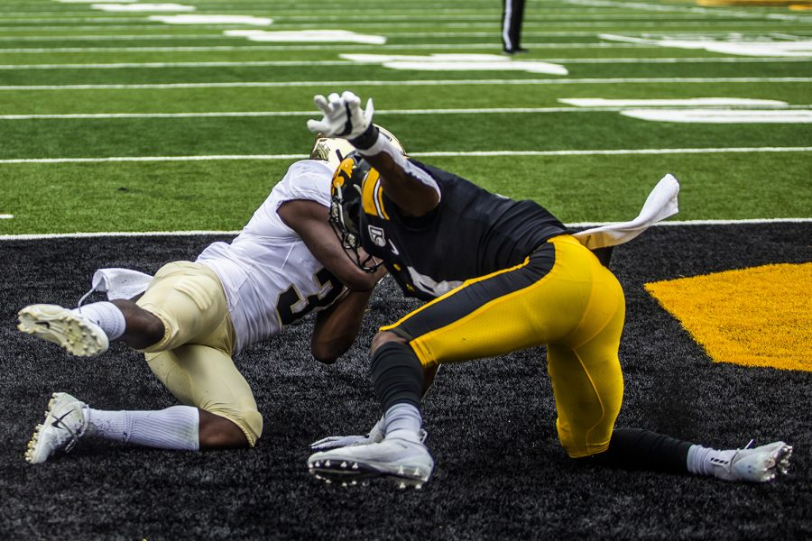 Purdue wide receiver David Bell scores a touchdown during the Iowa football game against Purdue at Kinnick Stadium on Saturday, Oct. 19, 2019. The Hawkeyes defeated the Boilermakers 26-20.