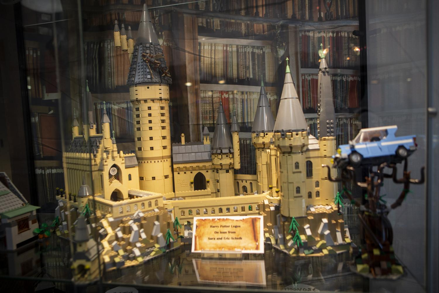 A LEGO version of Hogwarts castle is on display in the Science Library as part of their Harry Potter exhibit. The Harry Potter exhibit's grand opening was held on Monday, October 21, 2019 in the Sciences Library. (Nichole Harris/The Daily Iowan)
