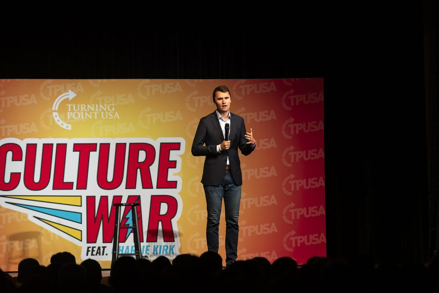 "Turning Point USA Founder Charlie Kirk speaks to an audience during his ""Culture War"" tour at the Iowa Memorial Union on Wednesday, October 23, 2019."