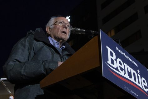 Presidential Candidate Sen. Bernie Sanders, I-Vt, addresses the crowd at the Ped Mall on Friday, Oct. 25, 2019. Sanders spoke on issues such as the legalization of marijuana, climate change, immigration reform, and raising the minimum wage.