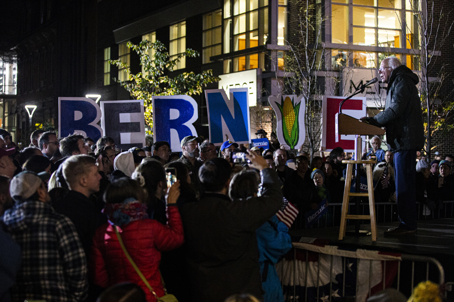 Bernie Sanders speaks before citizens at a rally in downtown Iowa City on Friday, October 25th, 2019. Bernie Sanders made an appearance downtown to drum up support for the upcoming Presidential Caucus. (Tate Hildyard/The Daily Iowan)