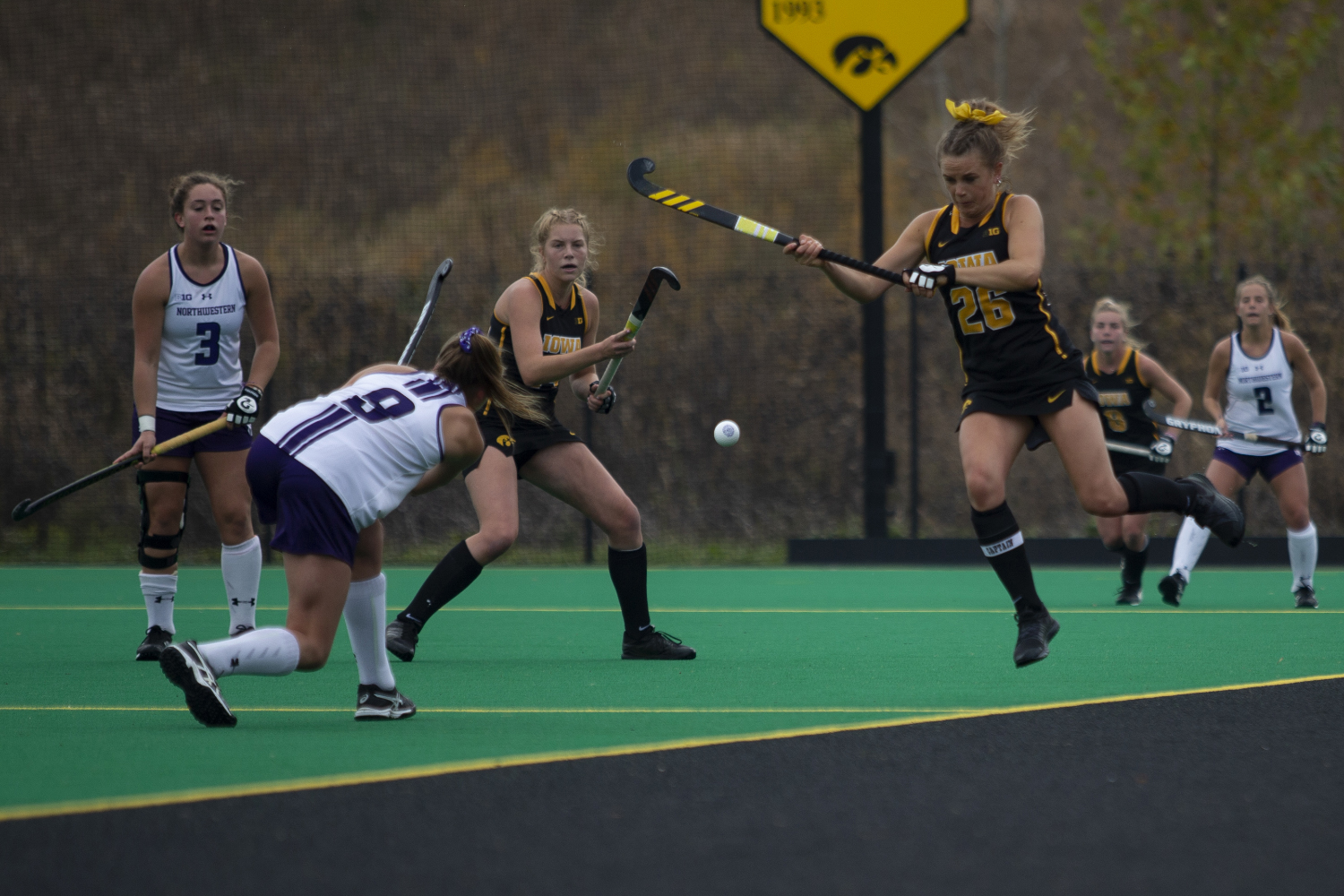 Iowa forward Maddy Murphy jumps to block a pass during a field hockey game between Iowa and Northwestern at Grant Field on Saturday Oct. 26, 2019. The Hawkeyes defeated the Wildcats 2-1.
