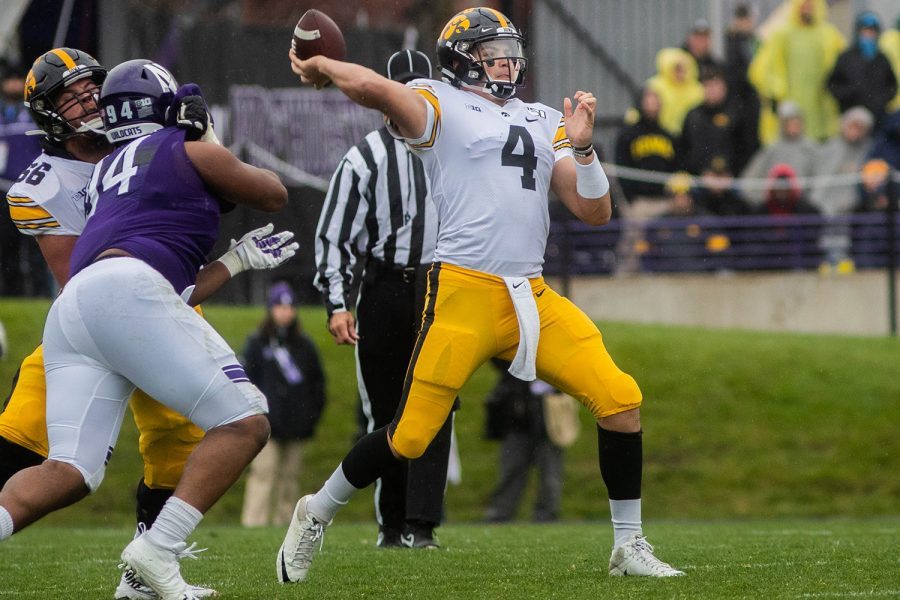 Iowa+quarterback+Nate+Stanley+passes+the+ball+during+a+game+against+Northwestern+at+Ryan+Field+on+Saturday%2C+October+26%2C+2019.+The+Hawkeyes+defeated+the+Wildcats+20-0.+Stanley+passed+for+a+total+of+179+yards.+