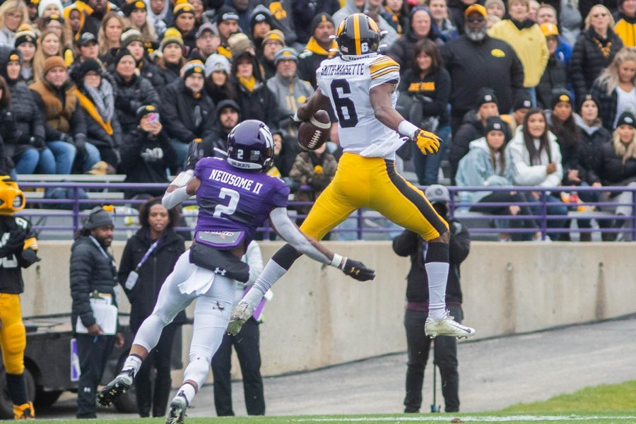 Iowa wide receiver Ihmir Smith-Marsette drops a pass during a game against Northwestern at Ryan Field on Saturday, October 26, 2019. The Hawkeyes defeated the Wildcats 20-0. Smith-Marsette had 3 complete catches for a total of 20 yards.