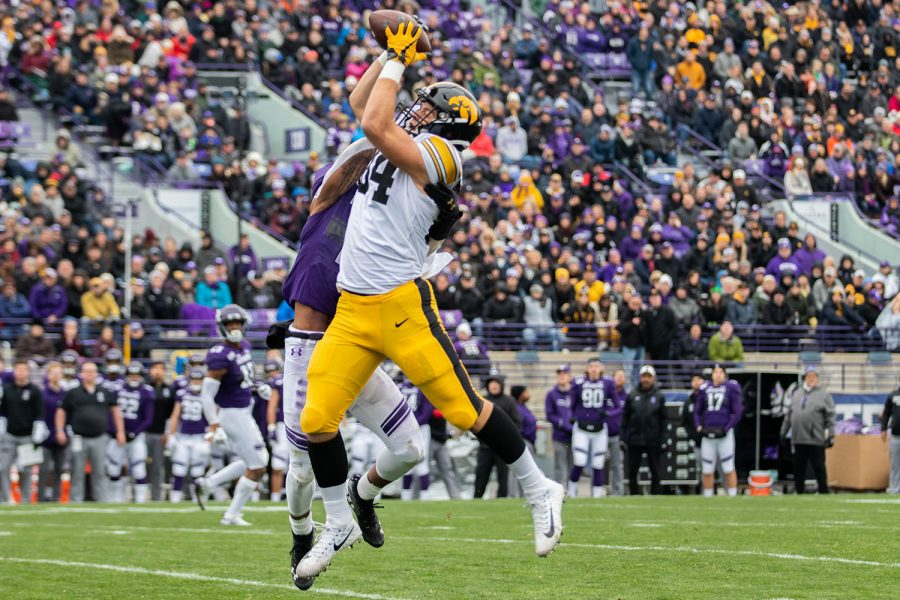 Iowa tight end Sam Laporta catches a pass during a game against Northwestern at Ryan Field on Saturday, October 26, 2019. The Hawkeyes defeated the Wildcats 20-0. Laporta had a total of 43 receiving yards.