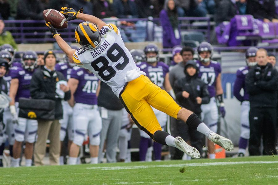 Iowa+wide+receiver+Nico+Ragaini+catches+the+ball+during+a+game+against+Northwestern+at+Ryan+Field+on+Saturday%2C+October+26%2C+2019.+The+Hawkeyes+defeated+the+Wildcats+20-0.+Ragiani+caught+for+a+total+of+4+yards.+