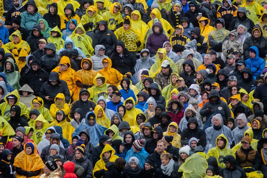Iowa fans watch during a game against Northwestern at Ryan Field on Saturday, October 26, 2019. The Hawkeyes defeated the Wildcats 20-0.