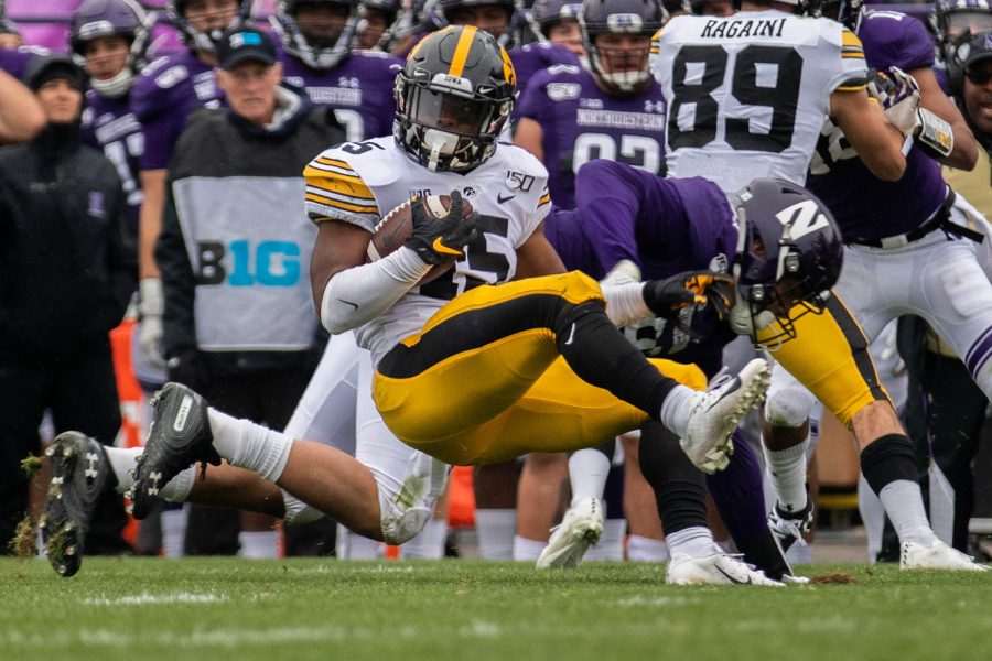 Iowa running back Tyler Goodson completes a carry during a game against Northwestern at Ryan Field on Saturday, October 26, 2019. The Hawkeyes defeated the Wildcats 20-0. Goodson had 11 carries for a total of 58 yards.