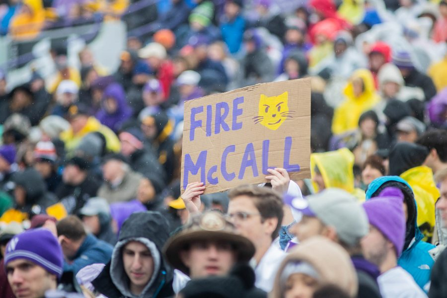 A sign is seen during a game against Northwestern at Ryan Field on Saturday, October 26, 2019. The Hawkeyes defeated the Wildcats 20-0.