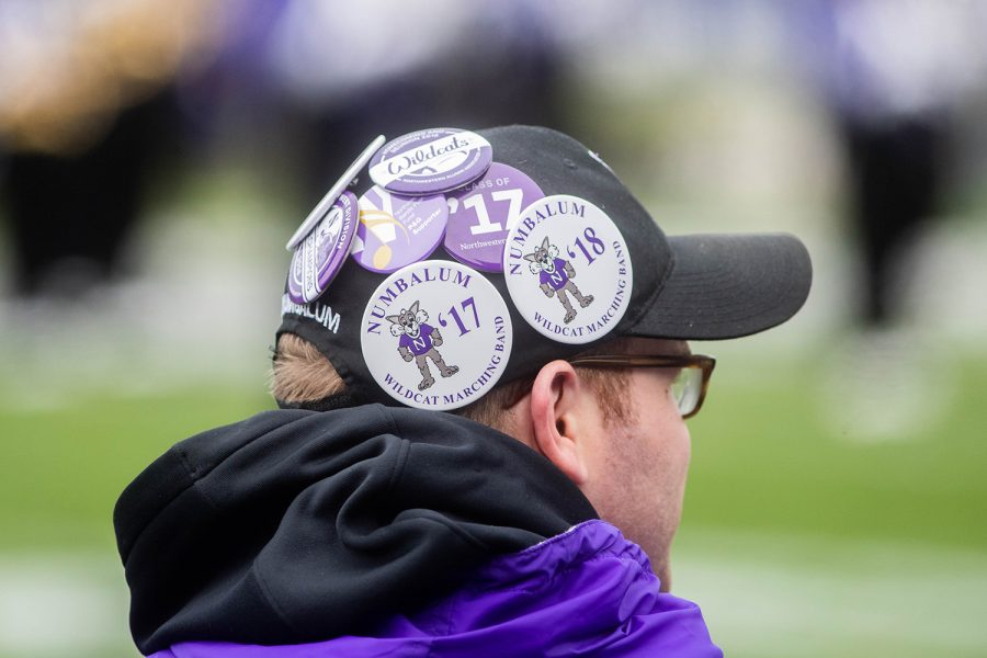 Northwestern Marching band alumni pins are seen during a game against Northwestern at Ryan Field on Saturday, October 26, 2019. The Hawkeyes defeated the Wildcats 20-0.