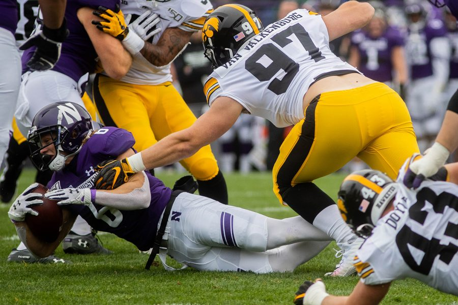 Northwestern running back Drake Anderson completes a carry during a game against Northwestern at Ryan Field on Saturday, October 26, 2019. The Hawkeyes defeated the Wildcats 20-0. Anderson had 5 carries for a total of 31 yards.