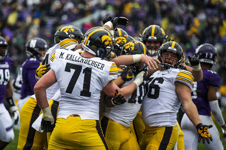 Iowa+players+celebrate+during+the+Iowa+vs.+Northwestern+football+game+at+Ryan+Field+on+Saturday%2C+October+26%2C+2019.+The+Hawkeyes+defeated+the+Wildcats+20-0.+