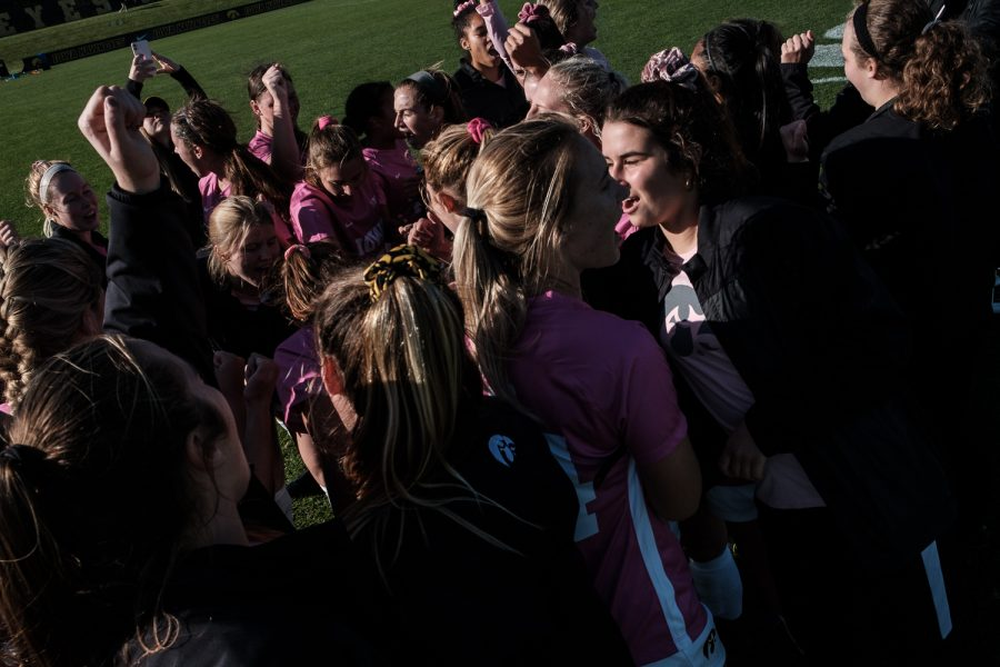 Iowa celebrates the victory following the Iowa versus Ohio State game at the University of Iowa Soccer Complex on Sunday, October 27, 2019. The Hawkeyes defeated the Buckeyes 2-1 in double overtime.