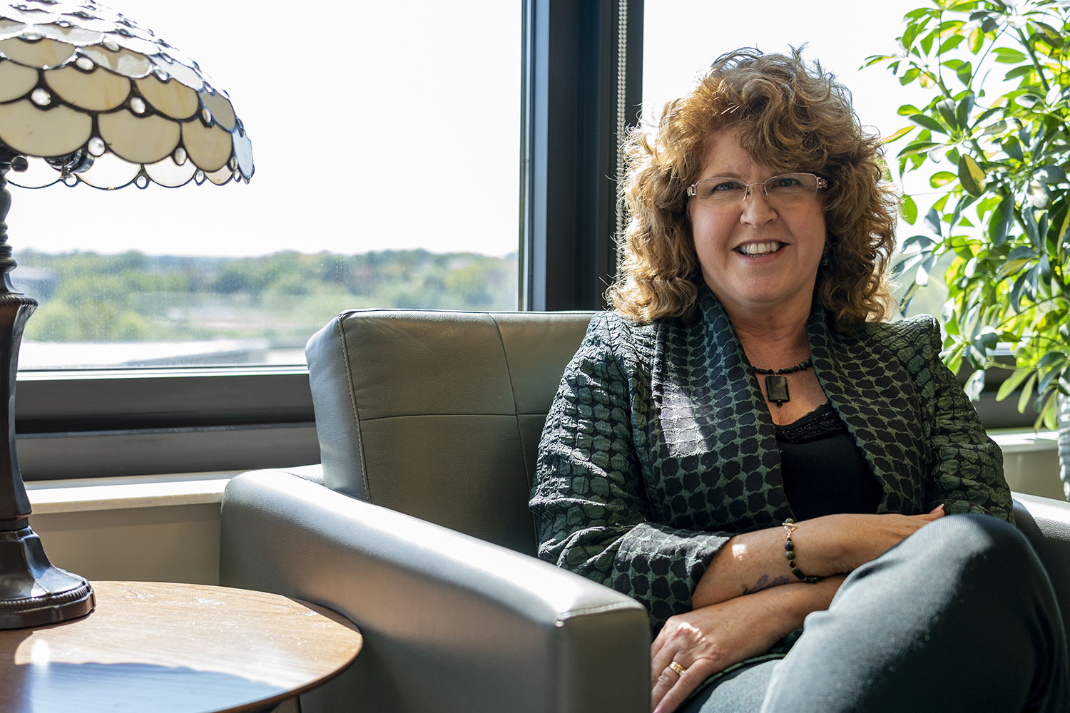 University of Iowa new DEO and first female chair in the college of Psychiatry, Peggy Nopoulos poses for a portrait on Monday October 7, 2019.