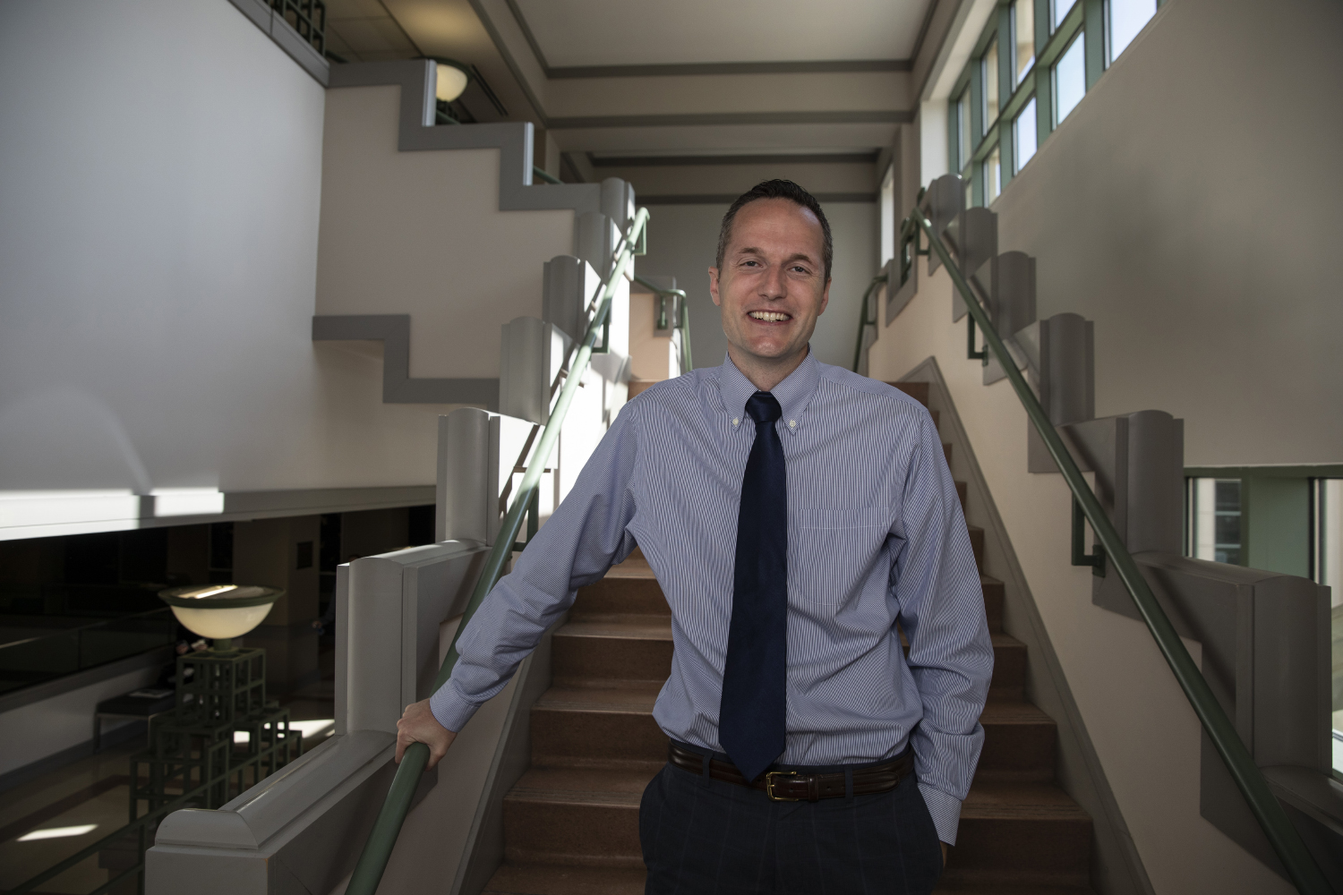 Assistant Professor of Management Daniel Newton poses for a portrait at the Tippie College of Business on October 9, 2019. Newton was commissioned by NASA to research task switching in efforts to help astronauts aboard the International Space Station.