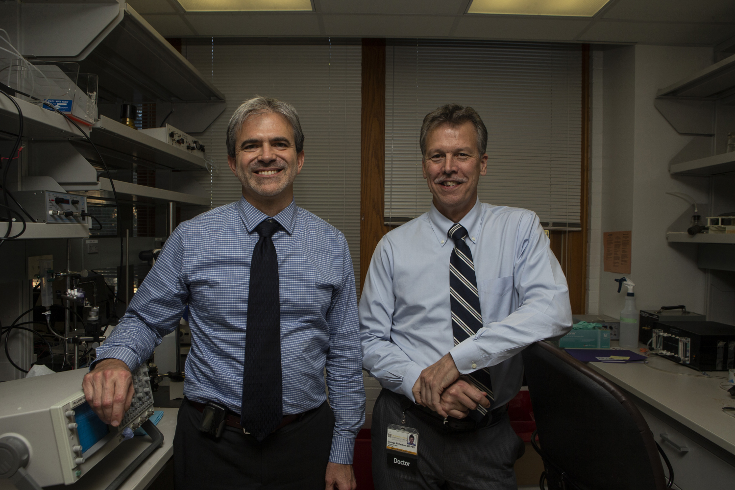 Brian Gehlbach (left) and George Richerson (right) pose for a portrait in the Medical Laboratories on Monday, Oct. 7, 2019. Gehlbach and Richarson have received a three million dollar research grant to continue their research into epilepsy.